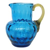 Vintage Blue Glass Creamer / Small Pitcher with Amber Applied Ribbed Handle