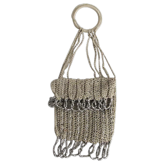 Vintage Crocheted Chatelaine Thumb Bag w/ Steel Cut Beads