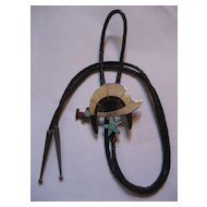 Zuni Sterling Silver & Inlay Shriner's Bolo Tie