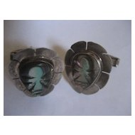 Sterling Silver & Abalone Vintage Cuff Links