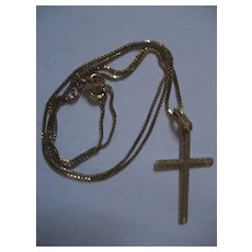 14 K Gold Cross & Necklace