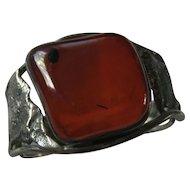 Sterling Silver & Amber Vintage Bracelet