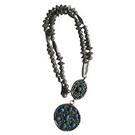 Sterling Silver Beaded Turquoise Vintage Necklace