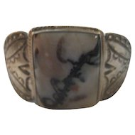 Sterling Silver & Petrified Wood Vintage Bracelet