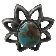 Sterling Silver & Turquoise Cast Vintage Ring