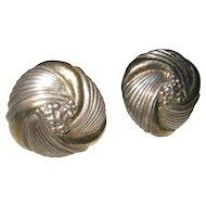 Sterling Silver Vintage Floral Clip Earrings