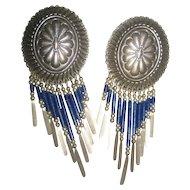 Sterling Silver & Lapis Vintage Earrings