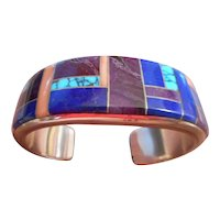 Sterling Silver Channel Inlay Vintage Bracelet