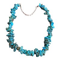 Sterling Silver & Turquoise Nugget Vintage Necklace