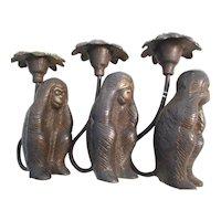 Hear No Evil See No Evil Candle Holder Monkeys
