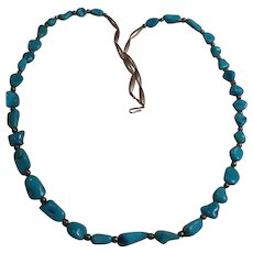 Turquoise Nugget Nickel Silver Necklace