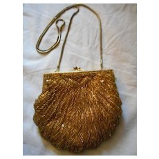 Gold Beaded Vintage Evening Bag
