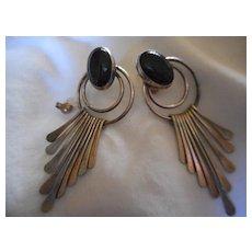 Sterling Silver + Jet Large Dangle Earrings