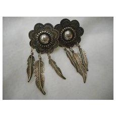 Sterling Silver Vintage Stamped Dangle Earrings