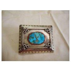 Sterling Silver Turquoise Vintage Belt Buckle