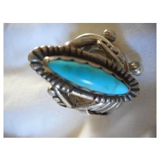 Sterling Silver Turquoise Vintage Size 7 1/4 Ring