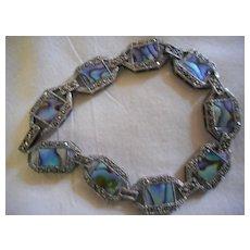Sterling Silver Marcasite Abalone Vintage Bracelet