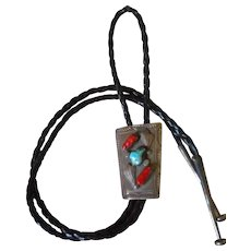Sterling Silver Coral & Turquoise Bolo Tie