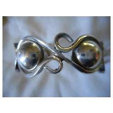 Sterling Silver Beaded Vintage Cuff Bracelet