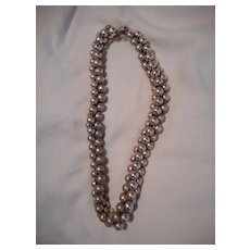Sterling Silver Beaded Three Strand Vintage Necklace