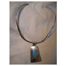 Sterling Silver Turquoise Pendant & Collar
