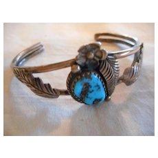 Sterling Silver Turquoise Vintage Baby Bracelet