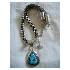 Sterling Silver Turquoise Vintage Necklace Pendant