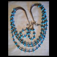 Sterling Silver Turquoise Heishi Vintage Three Strand Necklace + Earrings