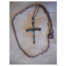 Sterling Silver Turquoise Vintage Petite Point Cross Necklace