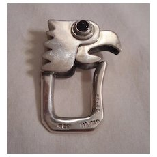 Sterling Silver Onyx Parrot Head Key Chain