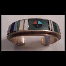 Sterling Silver Navajo Inlay Vintage Bracelet