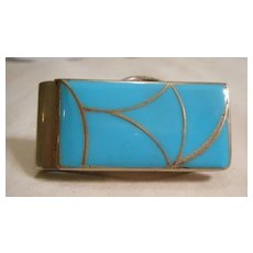 Sterling Silver Channel Inlay Turquoise Money Clip
