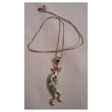 Sterling Silver Kokopelli Inlay Pendant Necklace