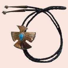 Sterling Silver Turquoise Eagle Vintage Bolo Tie