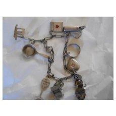 Sterling Silver 9 Charm Bracelet