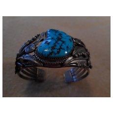 Navajo Sterling Turquoise Vintage Large Bracelet