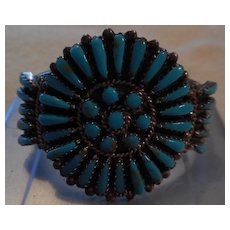 Petit Point Sterling Silver Turquoise Vintage Bracelet