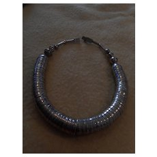 Sterling Silver Beaded Disc Vintage Necklace
