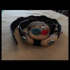 Sterling Silver Turquoise Navajo Vintage Concho Belt