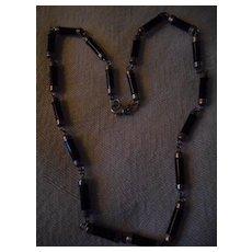 Sterling Silver Black Bead Vintage Necklace