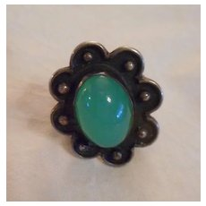 Sterling Silver Green Stone Vintage Ring