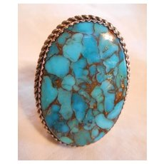 Navajo Sterling Silver Turquoise Large Vintage Ring