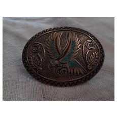 Tommy Singer Inlay Sterling Vintage Belt Buckle