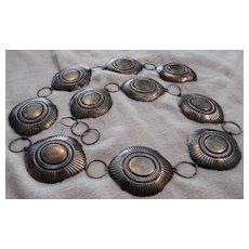 Navajo Sterling Silver Stamped 466 Gram Vintage Concho Belt