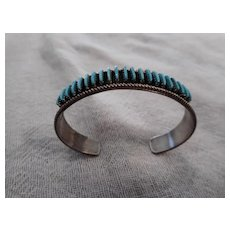 Zuni Needle Point Turquoise Sterling Silver Vintage Bracelet