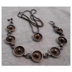 Sterling Silver Sombrero Bracelet and Necklace