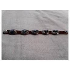 Sterling Silver Leather Vintage Concho Bracelet