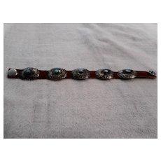 Sterling Silver Leather Vintage Concho Bracelet