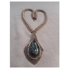 Navajo Sterling Silver & Kingman Turquoise Beaded Necklace