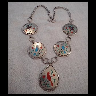 Zuni Inlay Sterling Silver Vintage Necklace
